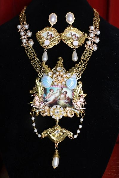 8676 Set Of Rococo Paintings Diana From Hunting Nautical Massive Statement Necklace+ Earrings