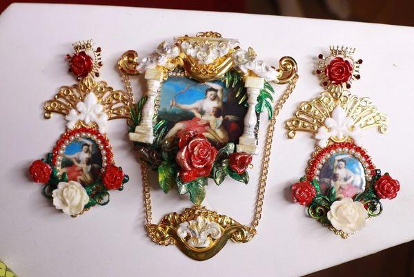 8675 Set Of Renaissance Paintings Cupid Rose Huge Stunning Brooch+ Earrings