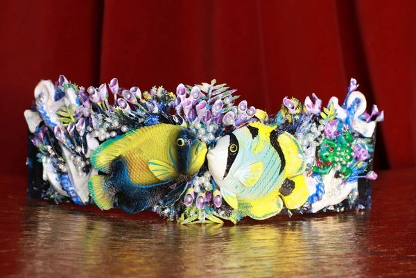 8708 Art Jewelry Nautical Hand Painted Fish Coral Reef Waist Belt Size S, L, M