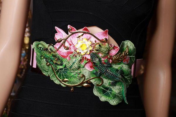 8711 Art Jewelry Crocodiles Frog Lake Lily Waist Belt Size S, L, M