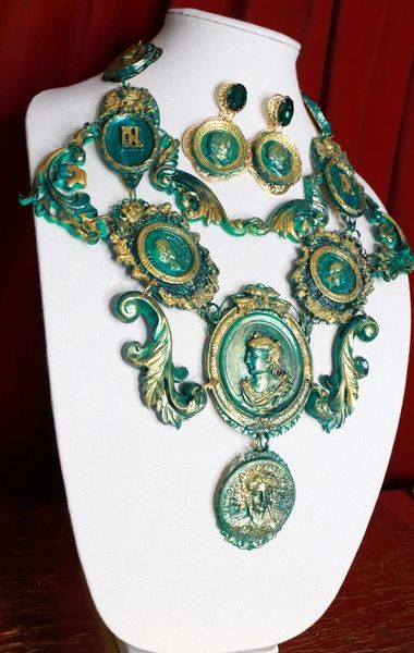 8715 Set Of French Emperor Art Jewelry 3D Effect Hand Painted Malachite Stone effect Necklace+ Earrings