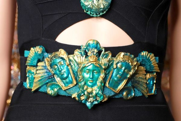 8716 Medieval Art Jewelry 3D Effect Hand Painted Roman Statues Malachite Stone effect Embellished wide Waist Belt size S, M, L