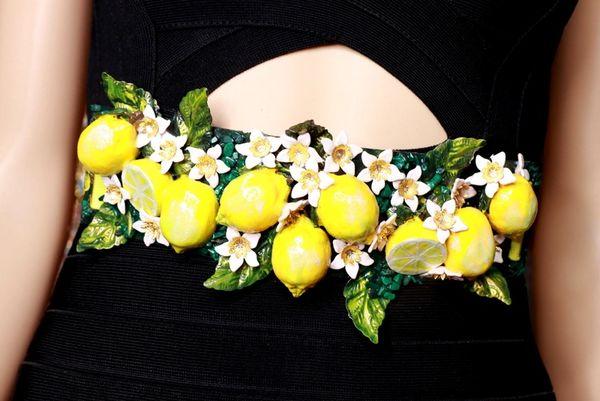 8719 Baroque Runway Sicilian Lemon Fruit Flower Blossom Corset Waist Belt Size S, L, M