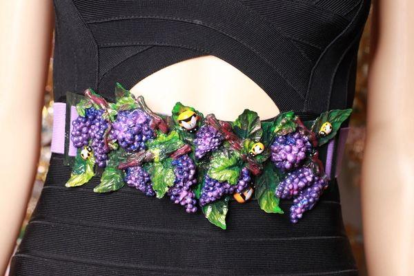 8722 Art Nouveau Grapes Hand Painted Embellished Waist Gold Belt Size S, L, M