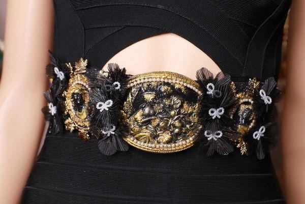 8725 Art Nouveau Carved Cameo Vintage Style Black Embellished Waist Gold Belt Size S, L, M
