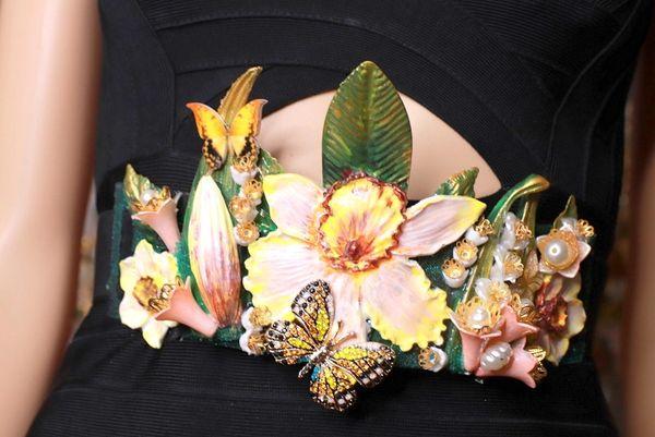8727 Art Nouveau Flower Garden Embellished Waist Gold Belt Size S, L, M