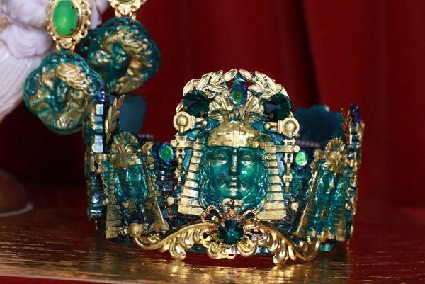 8728 Baroque Roman Statues Malachite Effect Crown Headband