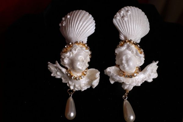 SOLD! 8729 Large Pearlish Chubby Cherubs angels Shell Light Weight Studs Earrings