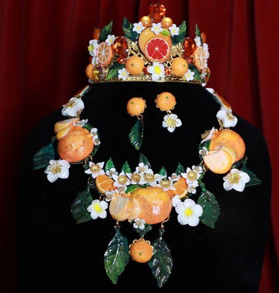 8732 Set Of Sicilian Orange Fruit Hand Painted Necklace+ Earrings