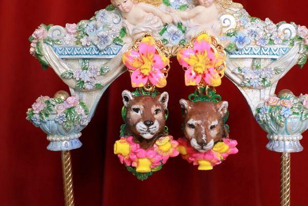 8742 Hand Painted Baroque Leopard Animal Fuchsia Flower Statement Earrings