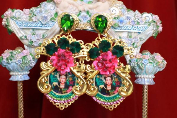 8743 Frida Kahlo Fuchsia Flower Massive Earrings