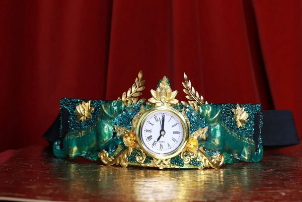 8746 Medieval Art Jewelry 3D Effect Hand Painted Clock Japanese Malachite Stone effect Embellished wide Waist Belt size S, M, L