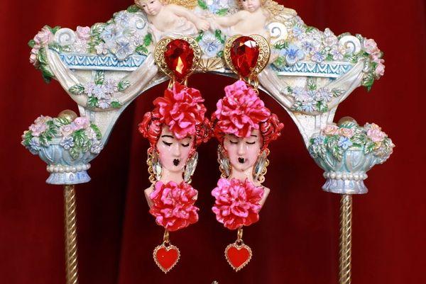 SOLD! 8747 Flamenco Dancer Fuchsia Flower Massive Earrings