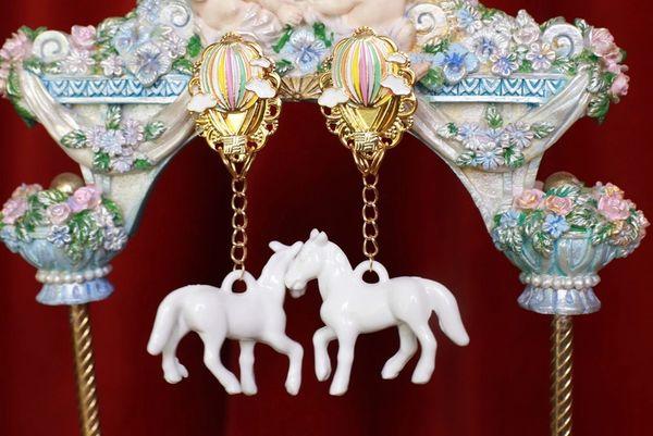 8749 Baroque 3D Effect White Horses Earrings Earrings