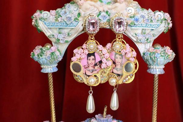 8754 Audrey Hepburn Mirror Roses Earrings