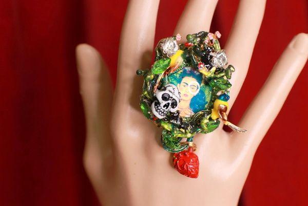 8756 Frida Kahlo Scull Enamel Birds Adjustable Cocktail Ring