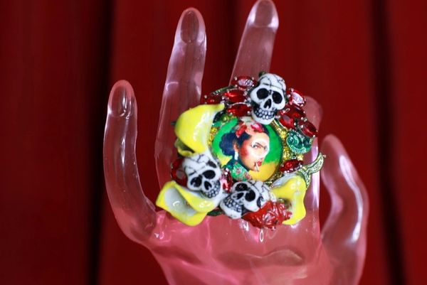 8757 Frida Kahlo Scull Enamel Lily Calla Adjustable Cocktail Ring