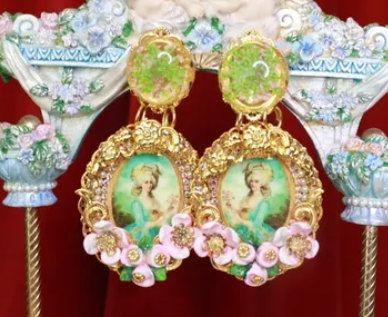 8758 Marie Antoinette Roses Massive Earrings
