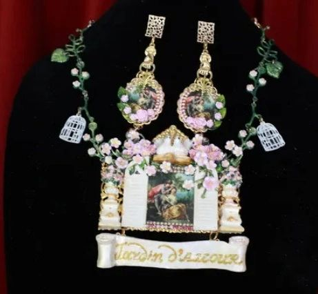 8759 Set Of Rococo Paintings 4 Seasons Jardin Hand Painted Massive Statement Necklace+ Earrings