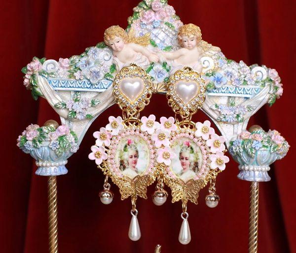 SOLD! 8760 Marie Antoinette Flowers Massive Earrings