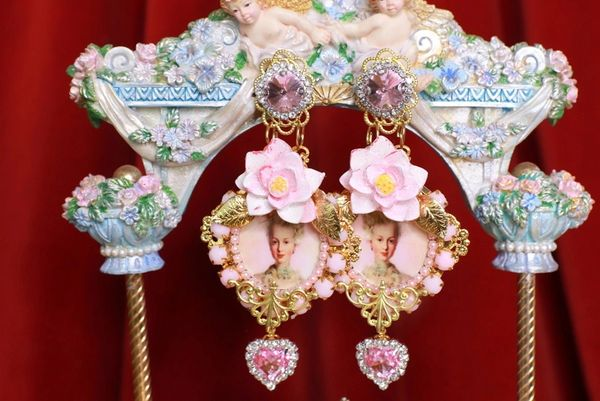 SOLD! 8761 Young Marie Antoinette Peony Massive Earrings