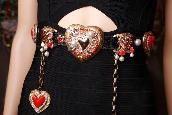 8763 Baroque Sacred Hearts Embellished Waist Belt size S, M, L