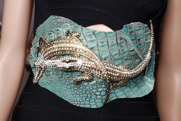 8766 Art Jewelry Genuine embossed Leather Crocodiles Embellished Waist Gold Belt Size S, L, M