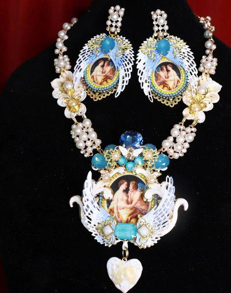 8767 Set Of Winged Italian Renaissance Statement Necklace+ Earrings