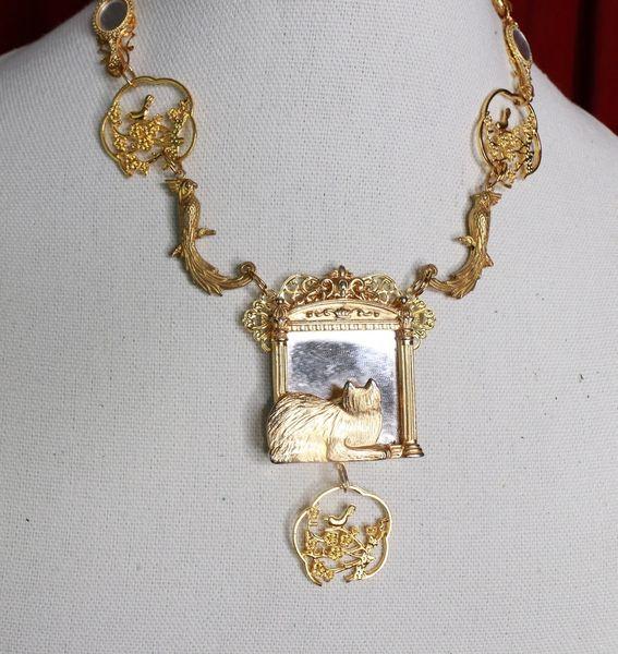 SOLD! 8769 Baroque Gold Tone Cat In A Mirror Elegant Pendant Necklace