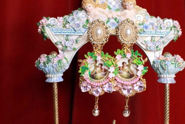 8770 Renaissance Paintings Diana Roses Pink Rhinestone Massive Earrings