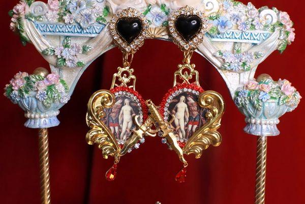 SOLD! 8771 Renaissance Paintings Diana Roses Pink Rhinestone Massive Earrings