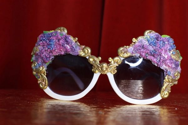 8772 Baroque Lilac flower Cherubs Hand Painted Embellished Embellished Sunglasses