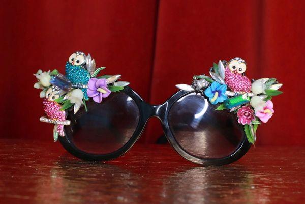 8773 Baroque Owl Bird Oak Embellished Sunglasses
