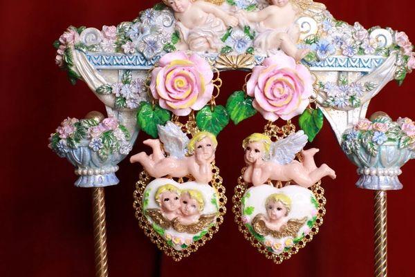 8774 White Heart Cherubs Angels Shell Light Weight Studs Earrings