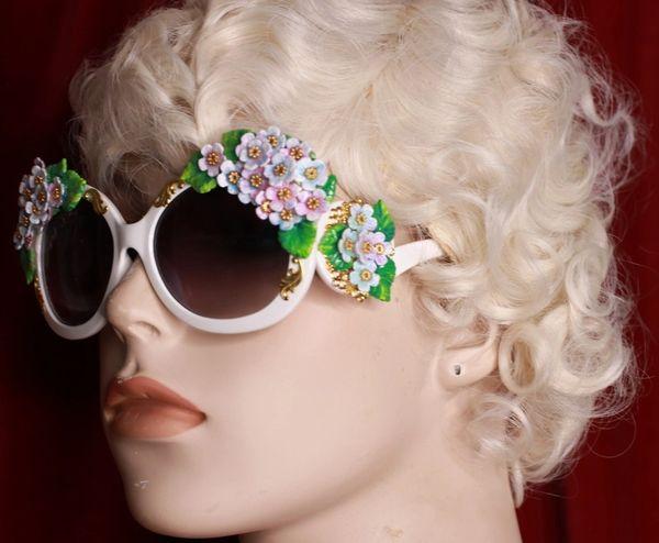 8776 Baroque Lilac Flower Sided Hand Painted Embellished Embellished Sunglasses