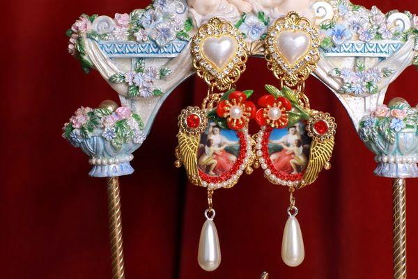 8777 Renaissance Paintings Batoni Cupid Massive Earrings