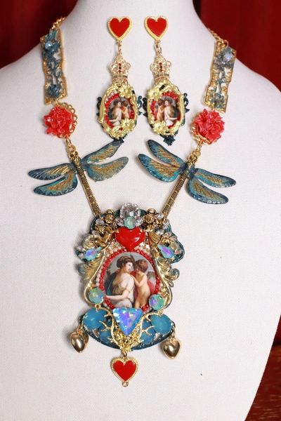 8778 Set Of Italian Renaissance Cupid Dragonfly Statement Necklace+ Earrings