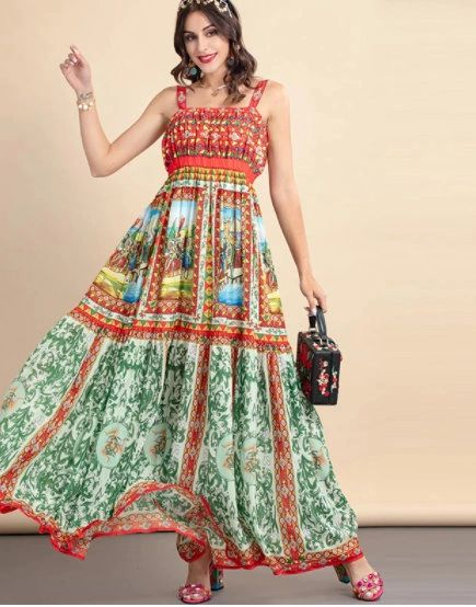 8781 Runway 2021 Baroque Knight Print Maxi Sheer Dress