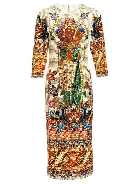 8782 Runway 2021 Baroque Mosaic Print Midi Dress