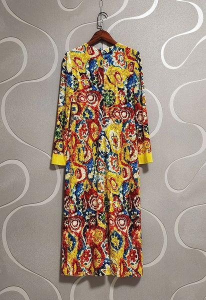 8783 Runway 2021 Baroque Mosaic Sequined Print Midi Dress