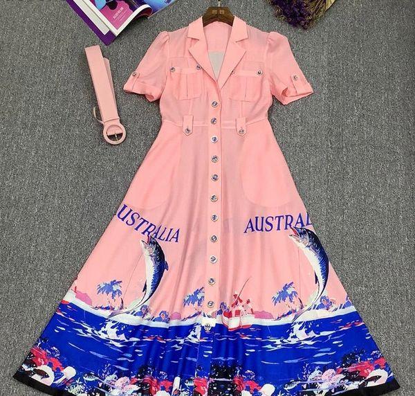 8784 Runway 2021 Nautical Australia Print Midi Dress