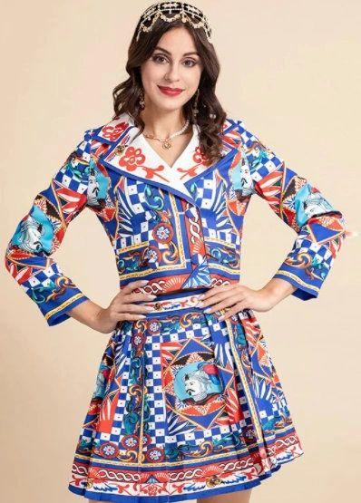 8785 Runway 2021 Baroque Knights Print Blazer+ Mini skirt Twinset
