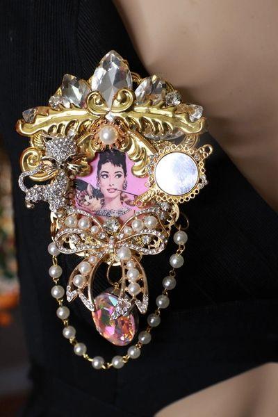 SOLD! 8791 Audrey Hepburn Rhinestones Bow Cat Mirror Massive Brooch