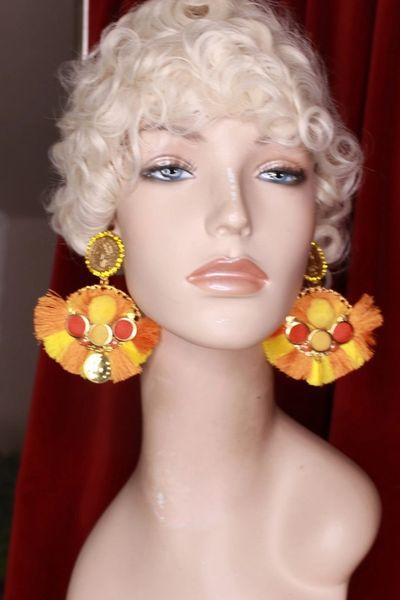 8800 Sicilian Pompom Orange Roman Coin Massive Earrings