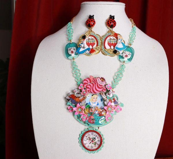 8802 Alice In Wonderland Aqua Clock Adorable Necklace