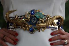 SOLD!13 Genuine Agate Art Nouveau Gold Crocodiles Crystal Embellished Unique Belt Size M, L, XL