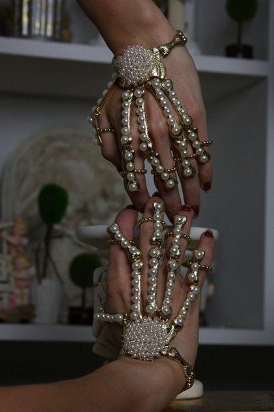 980 Pearl Skeleton Unusual Fancy Cuff Bracelet