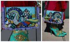 1292 PEacock Crystal Pearl Embellished Le Boy Aqua Handbag