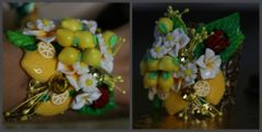 1302 Lemon Flower Ladybug Summery Cuff Bangle
