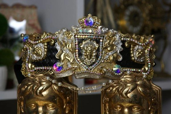 SOLD! 1322 Zibellini Medieval Gold Medusa Gorgon Pearl Chained Crystal Belt S, M, L, XL